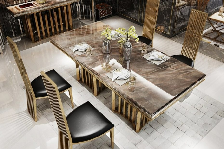 us 8500 rama dymasty stainless steel dining room set home furniture modern marble dining table and 6 chairsrectangle table in dining tables from