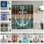 us 958 46 offblue wood pattern fly ship anchor shower curtain waterproof mildew proof printing bath curtain bathroom large 180x200 with hooks in