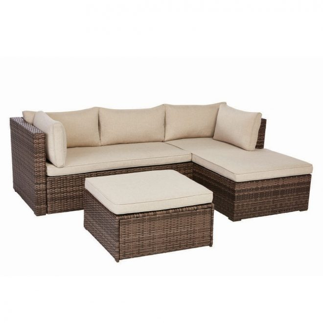 valley peak low profile 3 piece all weather wicker outdoor sectional set with beige cushions
