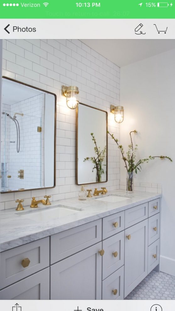 vanity color mirrors white subway tile gold hardware