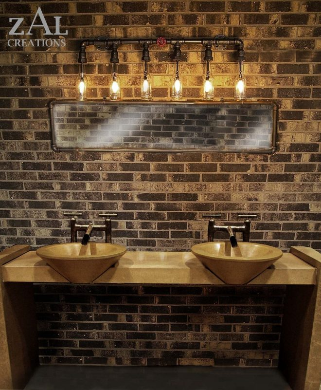 vanity light wall light beer bottles plumbing pipebathroom