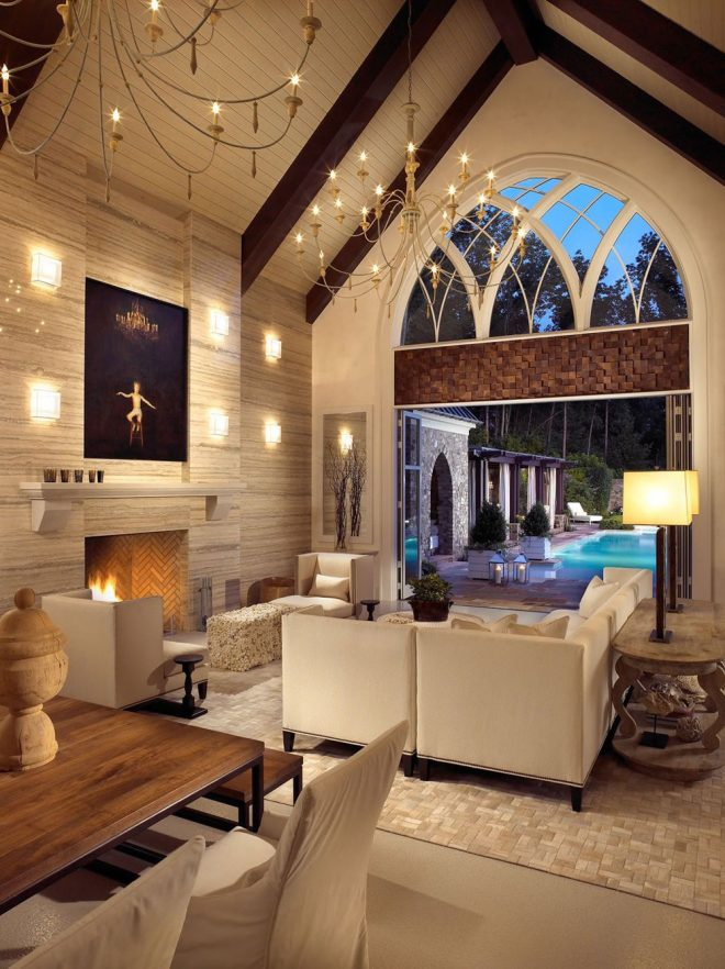 vaulted ceiling living room design ideas