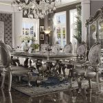 versailles antique platinum 11 piece formal dining table set