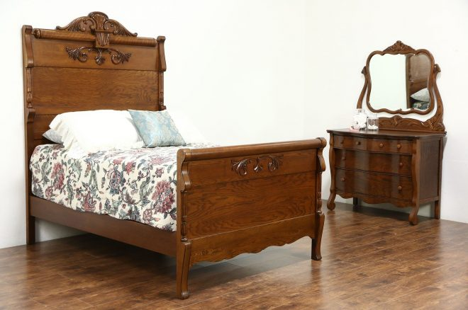 victorian carved oak antique 1900 bedroom set full size bed chest mirror