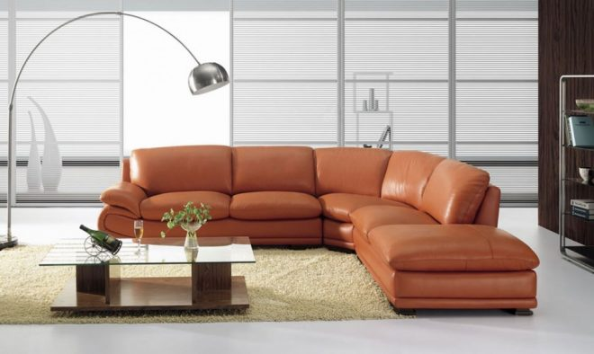 vig zee camel leather sectional sofa