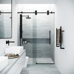 vigo elan 68 to 72 in x 74 in frameless sliding shower door in black with clear glass and handle