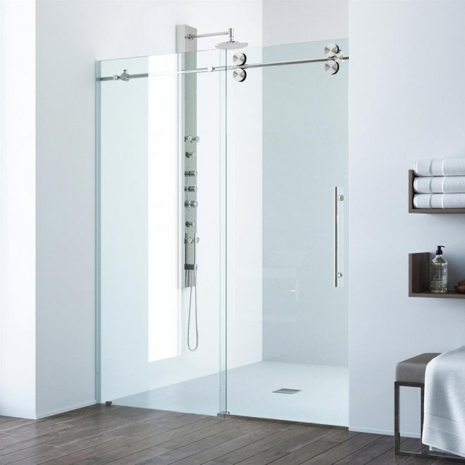 vigo elan 68 to 72 in x 74 in frameless sliding shower door in stainless steel with clear glass and handle