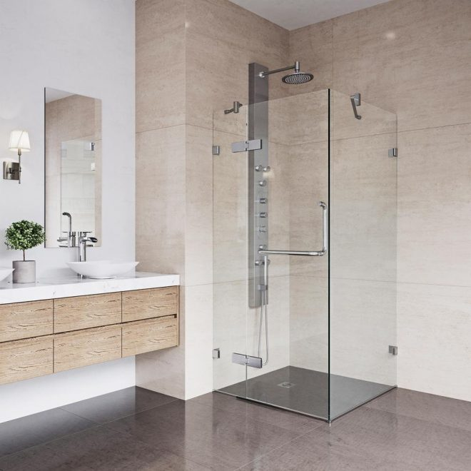 vigo monteray 34125 in x 73375 in frameless corner hinged shower enclosure in chrome with clear glass