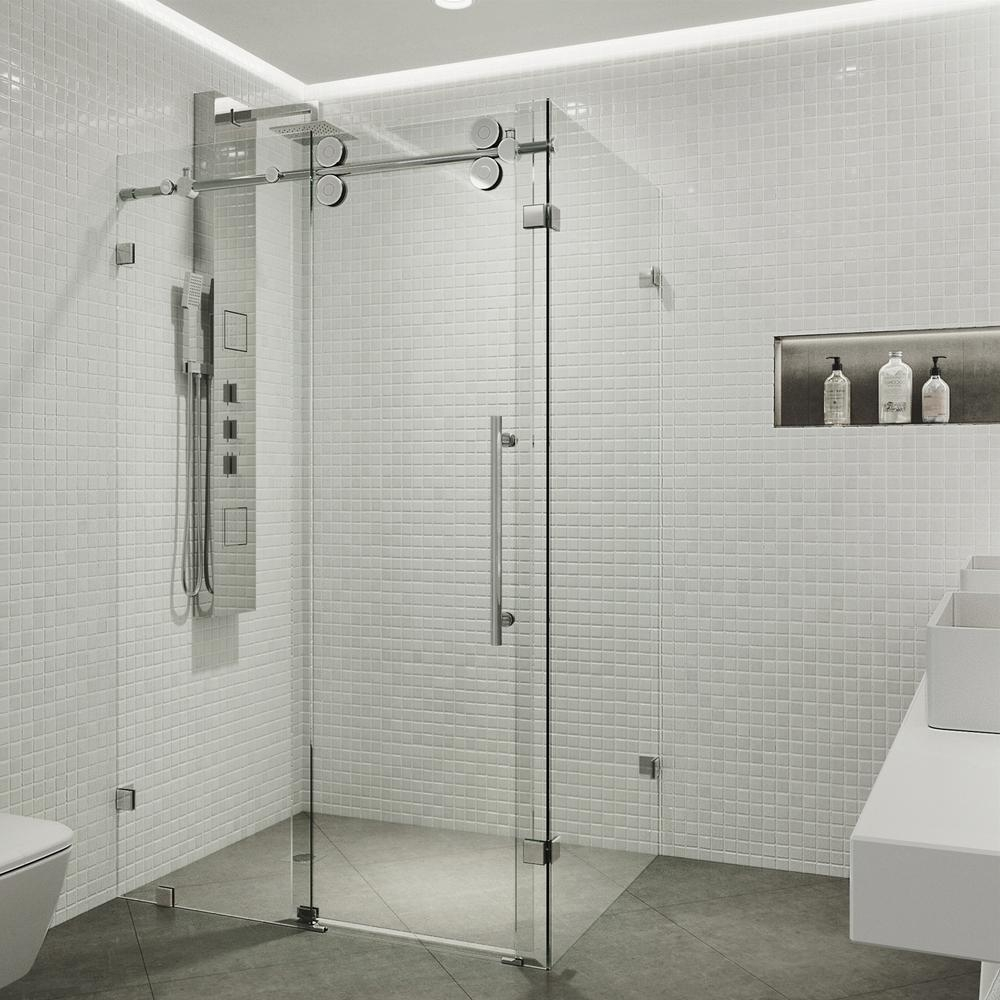 vigo winslow 34625 in x 74 in frameless corner pass shower enclosure in chrome with clear glass