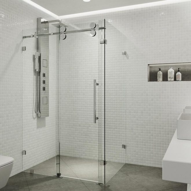vigo winslow 5775 in x 74 in frameless corner pass shower enclosure in chrome with clear glass
