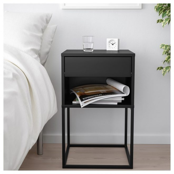 vikhammer bedside table black ikea in 2019 bedside table