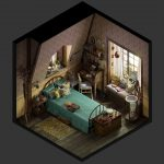vintage bedroom isometric finished projects blender