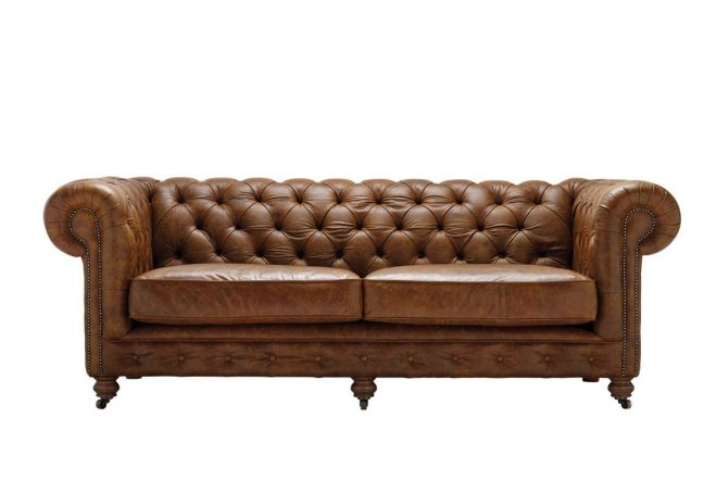 vintage chesterfield 3 seater leather sofa