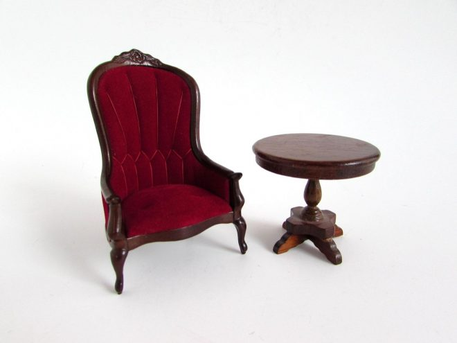 vintage dollhouse miniature chair and table red velveteen