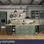 vintage green kitchen with island in a loft 3d rendering