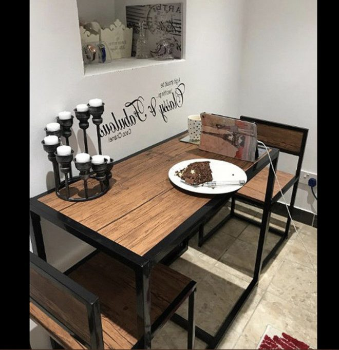 vintage industrial dining table small metal breakfast bar furniture set 2 chairs rustic retro space saving compact kitchen bistro cafe pub