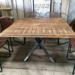 vintage industrial rustic reclaimed plank square top dining