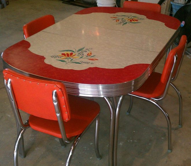 vintage kitchen formica table 4 chairs chrome orange red