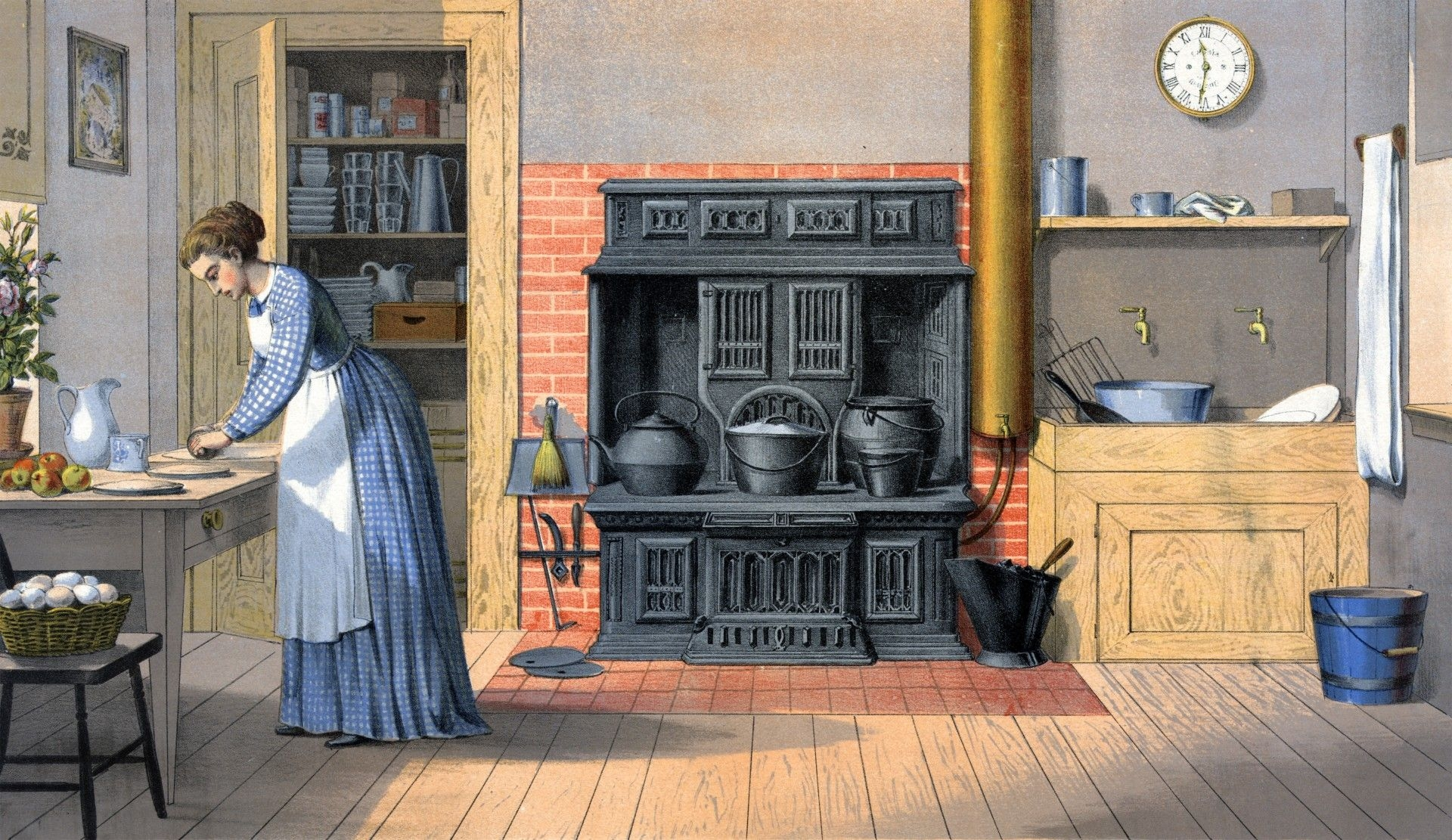 vintage kitchen painting scene victorian kitchen old