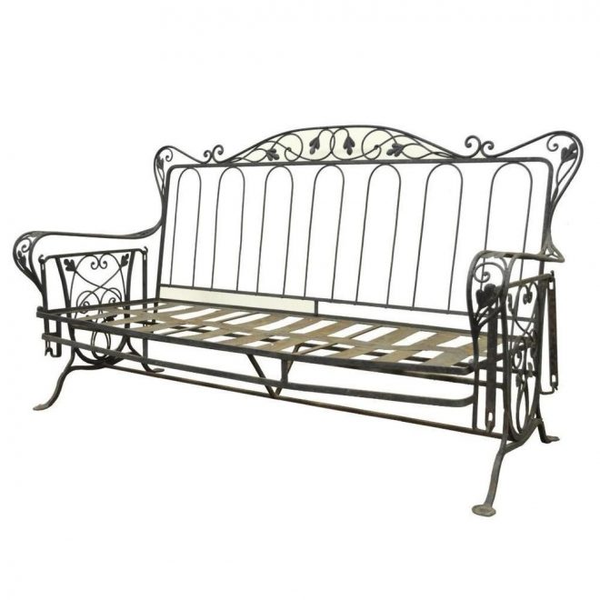 vintage wrought iron outdoor patio glider swing sofa