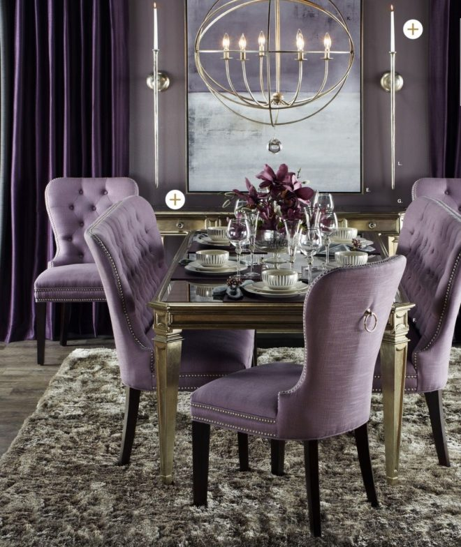 violet grey and silver dining room hollywood homes elegant