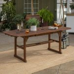 walker edison furniture company boardwalk dark brown acacia wood extendable outdoor dining table