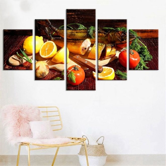 wall art canvas painting home decor 5 pieces fruits and fish picture