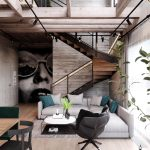 warm industrial style house with layout loft design