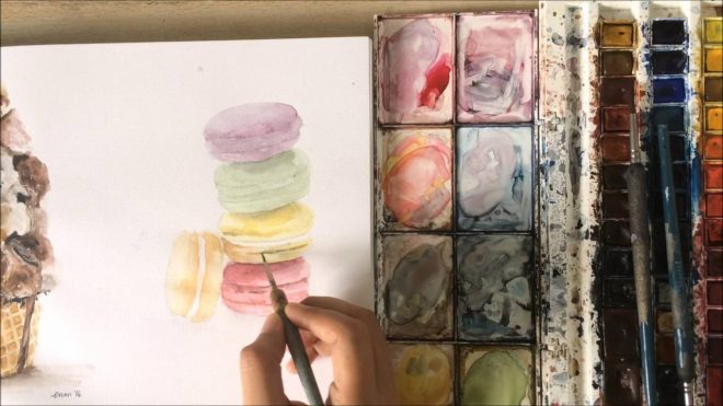 watercolor painting french macarons