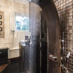 waterfall shower bathroom decor bronze tiles bathroom