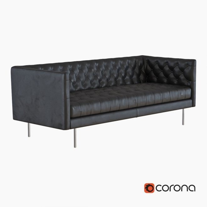 west elm modern chesterfield leather sofa 3d model