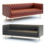 west elm modern chesterfield sofa 3d model