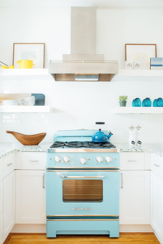 white and blue beach cottage retro kitchen idea very airy with