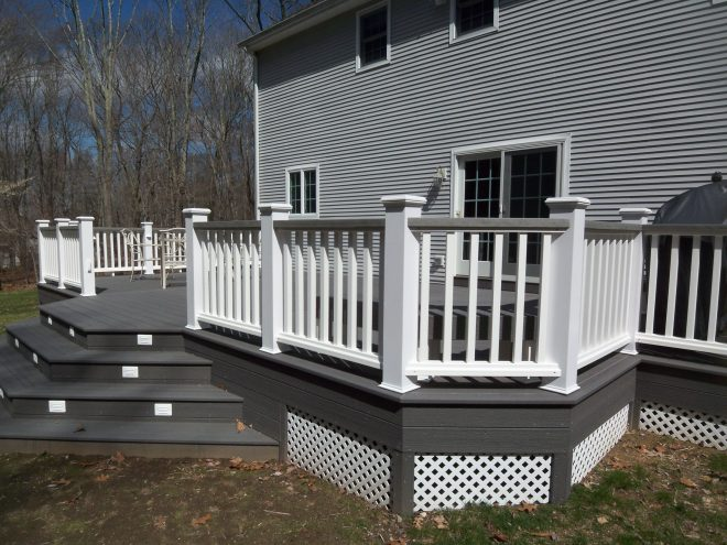 white and gray wood porch composite decks hot tub decks