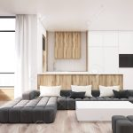white and wooden living room interior with a black sofa a white