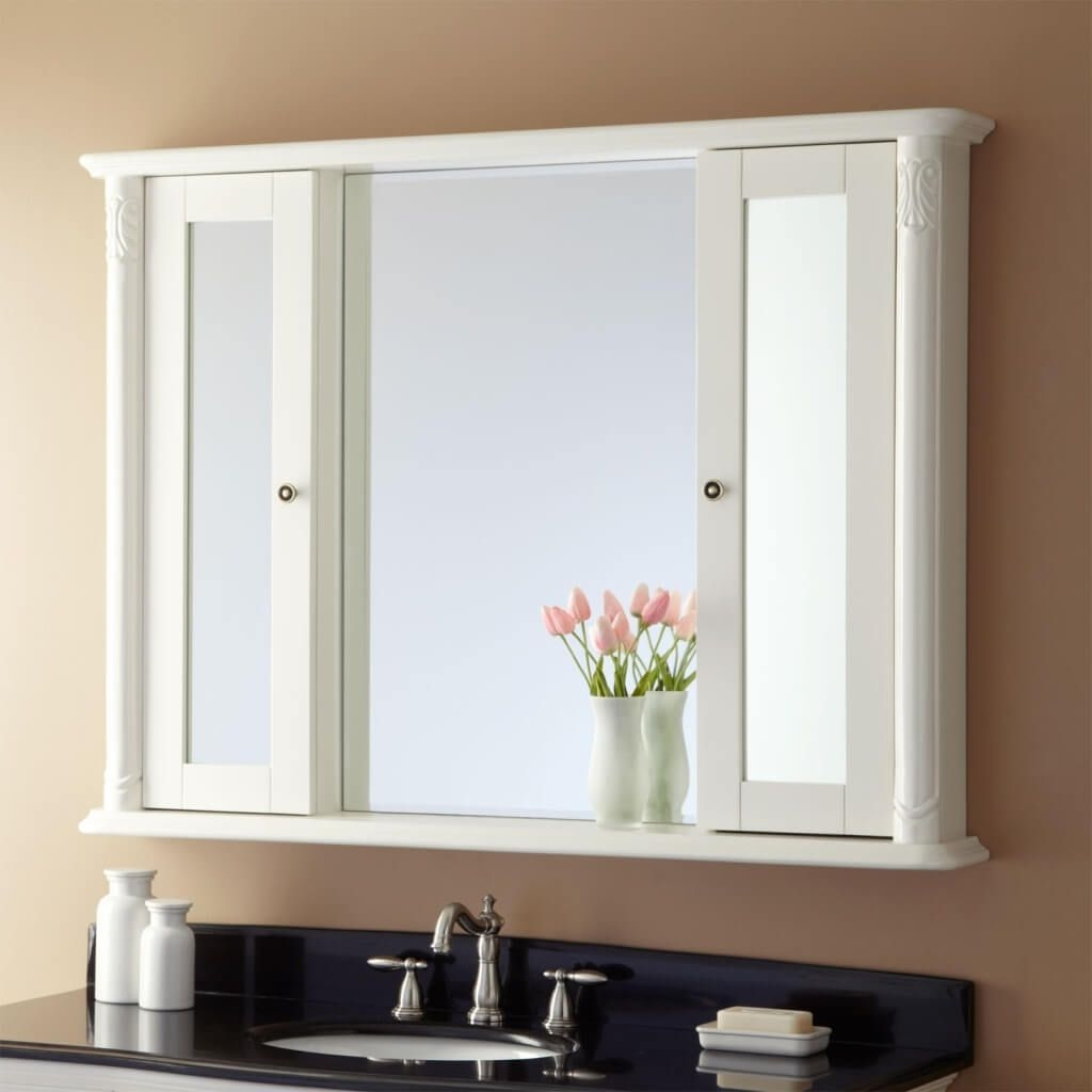 white bathroom mirror cabinet with lights theplanmagazine