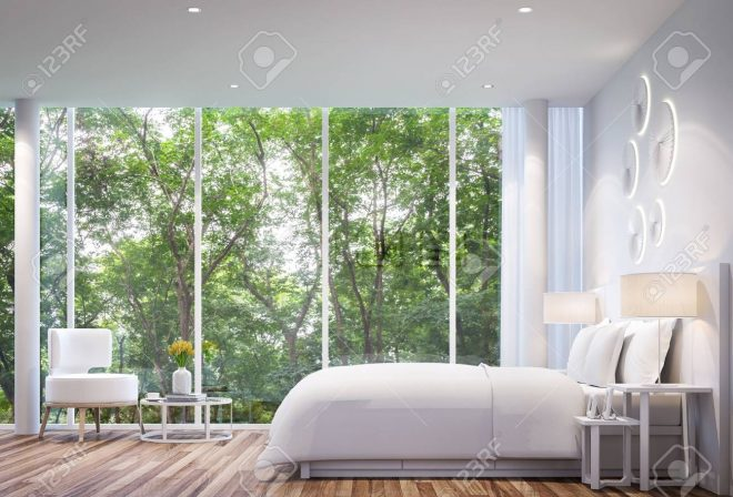 white bedroom modern minimalist style white bed with large windows