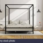 white bedroom with canopy bed in minimalist style 3d
