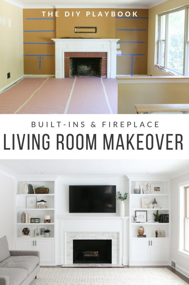white built ins around the fireplace before and after