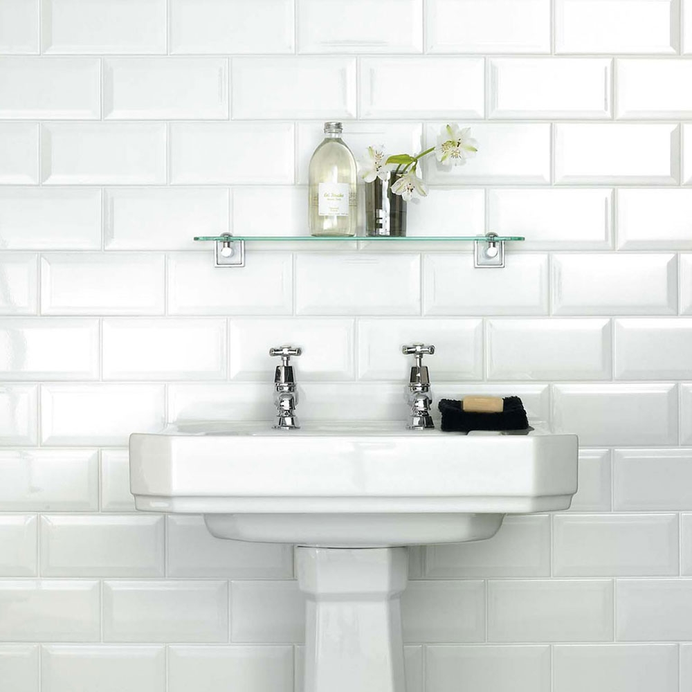 white metro belvelled wall tiles crown tiles