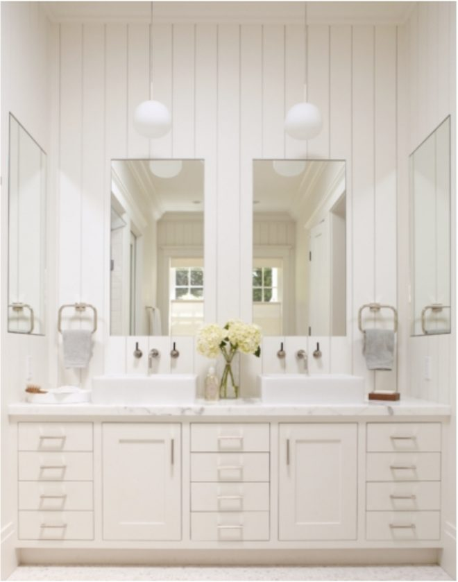 white vertical shiplap tall ceilings transitional