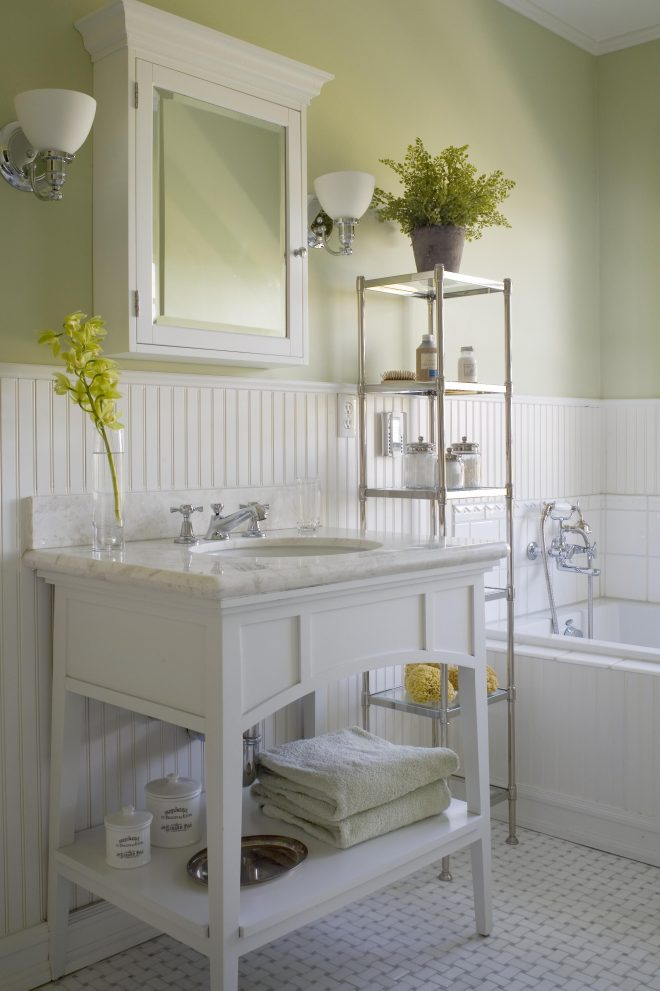white wainscoting and pale green walls light green