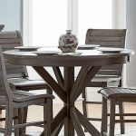 willow distressed dark gray round counter height dining table