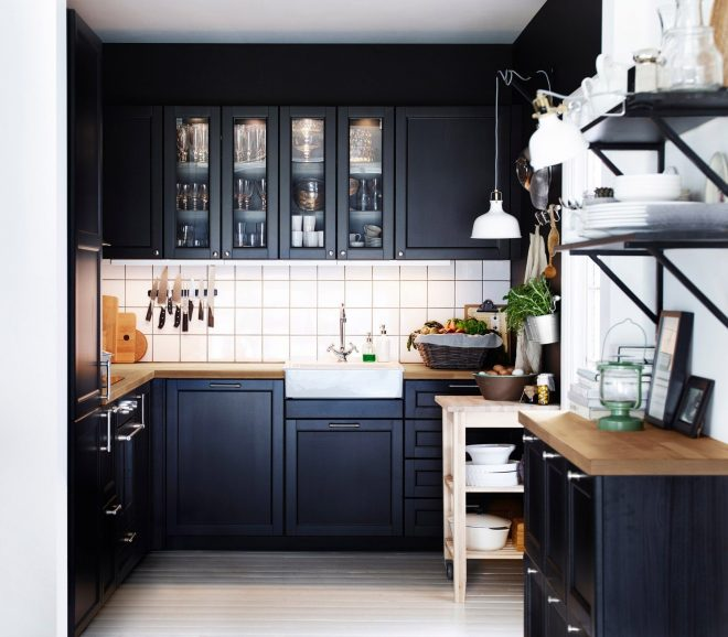 wonderful small kitchen remodel ideas with black painted maple wood