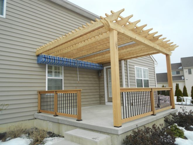wood awnings for decks and wood awning over deck pergola