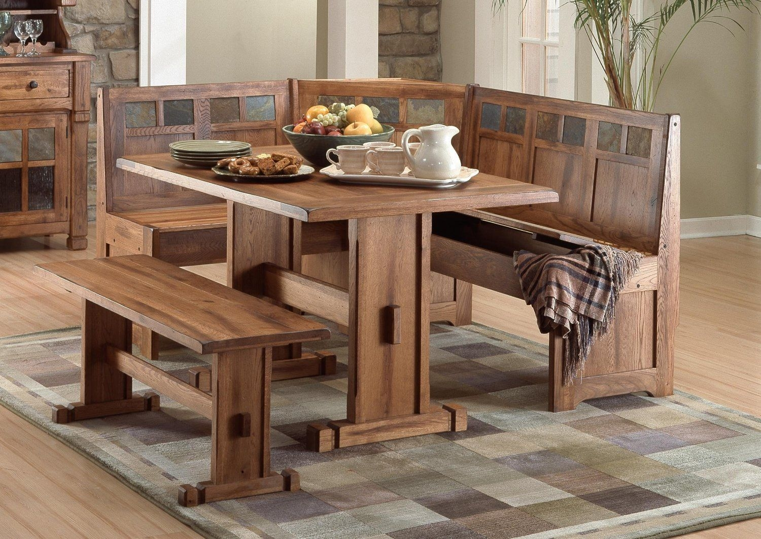wood kitchen table with bench seating designs ideas dining bench