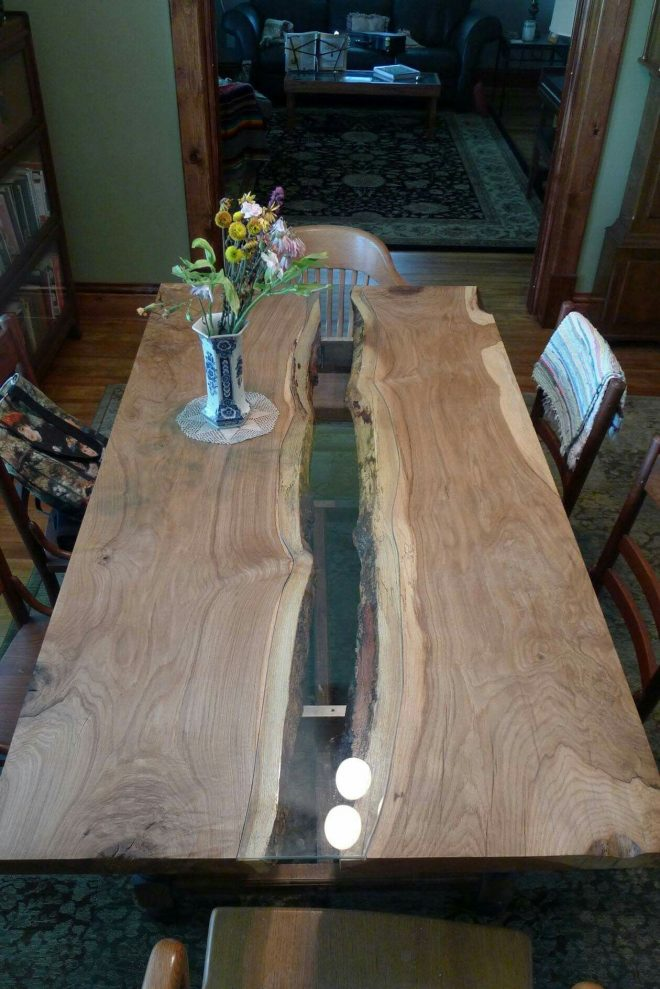 wood slab river dining table with cut in glass easton