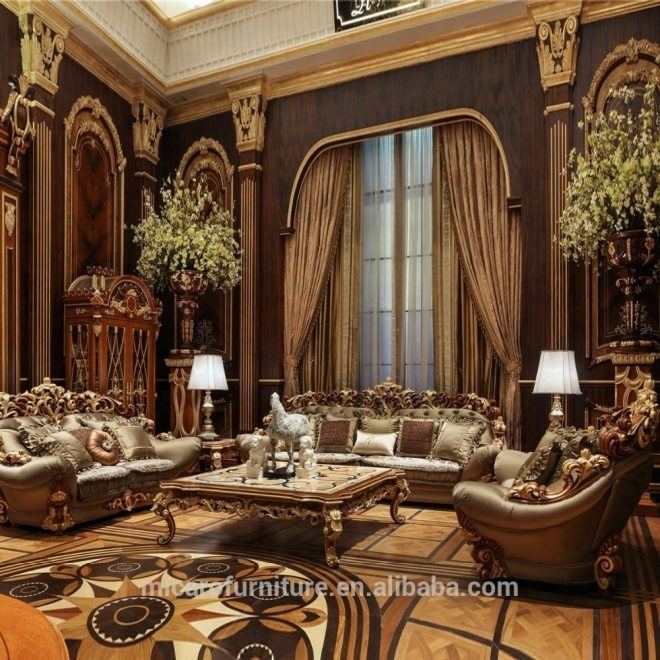 wooden carved italian classic style luxury living room furniture sofa sets with natural mable top coffee table view living room furniture sofa sets