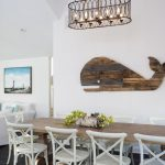 wooden whale wall decor in a dining room nautical dining