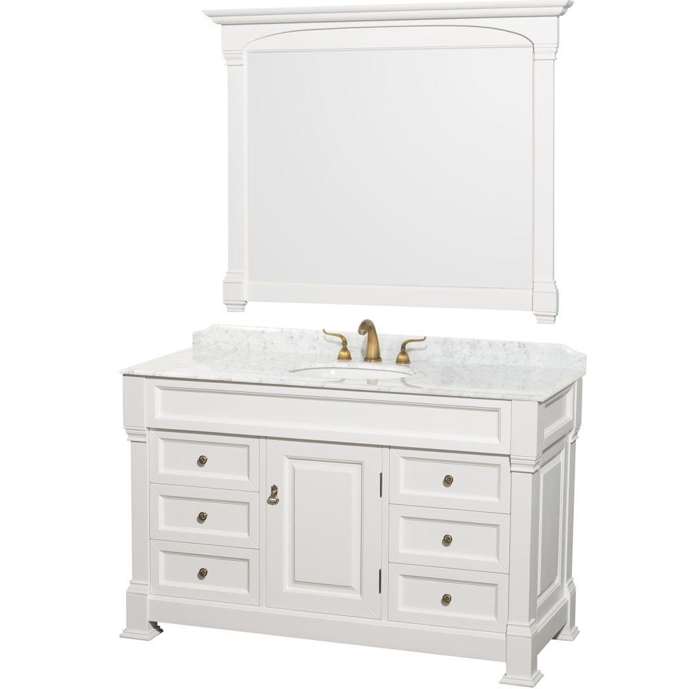 wyndham collection andover 55 in vanity in white with marble vanity